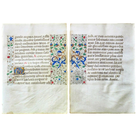 Illuminated Book of Hours Leaf, Gold Initials and Beautiful Borders, circa 1475