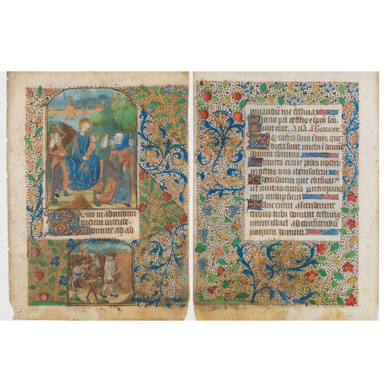 Leaf from a French  Book of Hours written on Vellum, Circa 1480, Showing Flight into Egypt