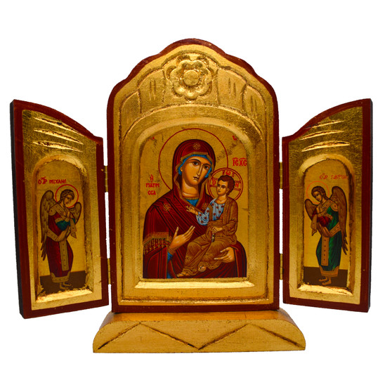 Madonna and Child Triptych Icon with Angles, 10 x 9 inches fully open