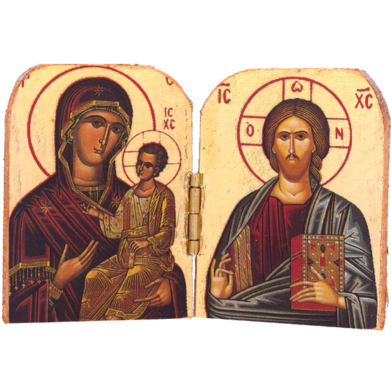 Hodegetria and Pantocrator Icon, 2-7/8 x 2 inches.