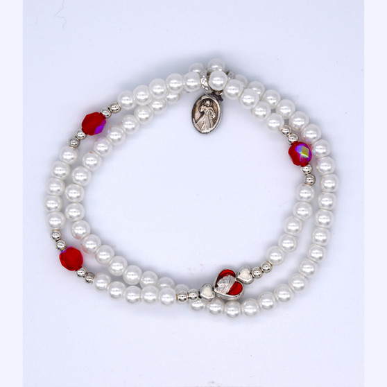 Divine Mercy Pearl and Red Crystal double bracelet