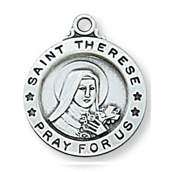"""Sterling silver medal of the beloved Saint Thérèse, the Little Flower. 18"""" rhodium plated chain with red velour gift box.  Dimension: about 5/8"""" round."""