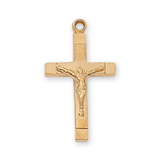 """Gold on sterling silver two tone crucifix 18"""" rhodium plated chain.  Dimension: 13/16"""" long."""