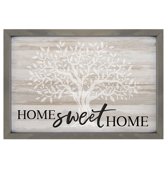 """3-D Carved """"Home Sweet Home,"""" Framed, Decor, 18.75"""" x 13"""", with Tree of Life in Background"""