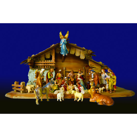 Hand Carved, Hand Painted Nativity by Dolfi, Italy