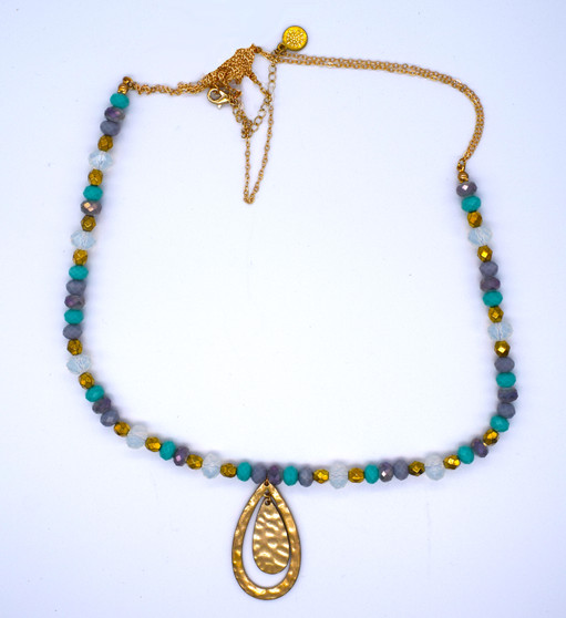 Metal and Colorful Glass Bead Necklace