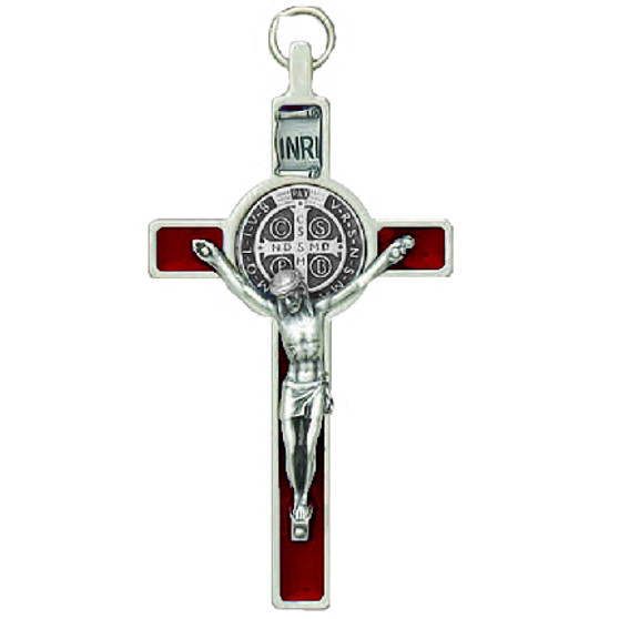 "St. Benedict Crucifix 3"" Red  Enamel, Silver Tone Edge with Cord for Wearing as Necklace"