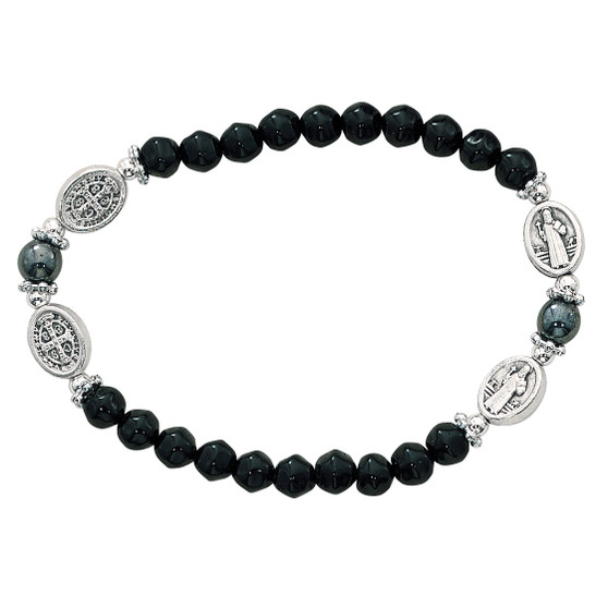 6mm black glass bead stretch bracelet with silver tone St. Benedict beads. Made in Italy.