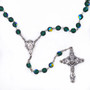 Bohemian Crystal Rosary, 8 mm Deep Green Beads, Miraculous Medal at Center