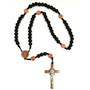 Black Wood Bead Copper St Benedict Rosary