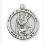 "Sterling Silver St. Christopher medal with 18"" chain."