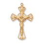 "18 KT. Gold on sterling silver two tone crucifix 18"" gold plated chain.  Dimension: 1 3/16"" long."