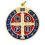 4 inch Gold Toned with Dark Blue & Red Enamel Premium St. Benedict Medal, for Hanging.