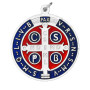Enameled Blue and Red Silver Toned Benedict Medal, 2 Inches