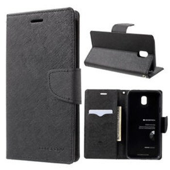 For Samsung Galaxy J7 Pro SM-J730 Mercury Fancy Diary Case Black
