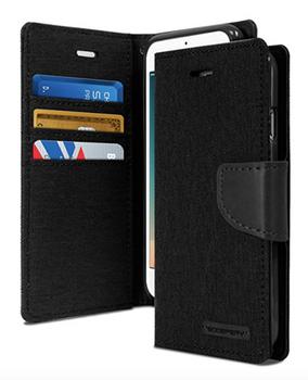 For iPhone X Mercury Canvas Diary Case Black