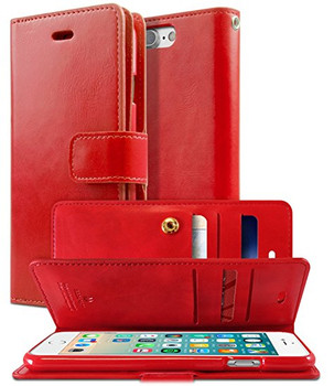 For iPhone 7/8 Canvas Diary Case Red