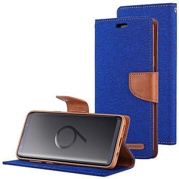 For Samsung Galaxy S9 Plus Mercury Canvas Diary Blue