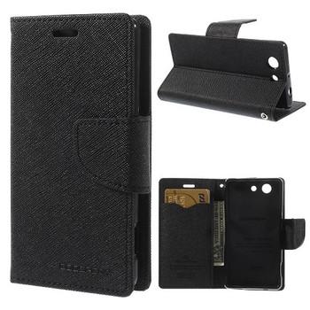 For Sony Z3 Mercury Canvas Diary Black