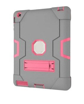 For iPad 2/3/4 Fashion Case Grey / Pink