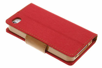 For iPhone 5/5S Mercury Canvas Diary Red