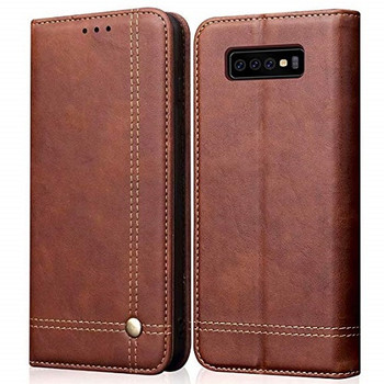 For Samsung Galaxy S10 Plus Leather Case Brown