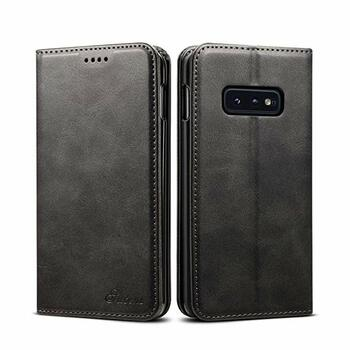 For Samsung Galaxy S10E (Lite) Leather Case Black