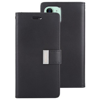 For iPhone 11 Pro Max Mercury Canvas Diary Black