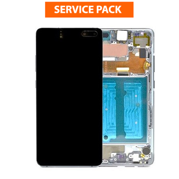 For Samsung Galaxy S10 5G Service Pack LCD and Touch Screen Assembly With Frame (Silver)