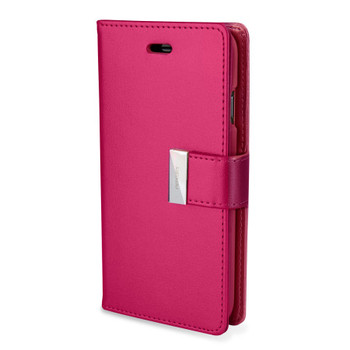 For iPhone 6 Plus / 6S Plus Rich Diary Case Dark Pink