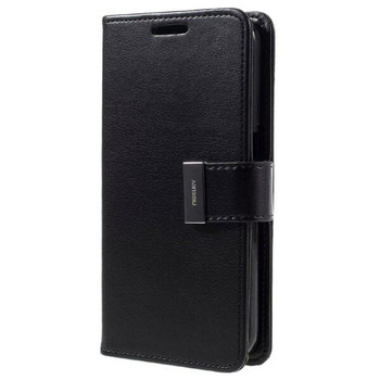 For iPhone 12 Pro Max Rich Diary Case Black