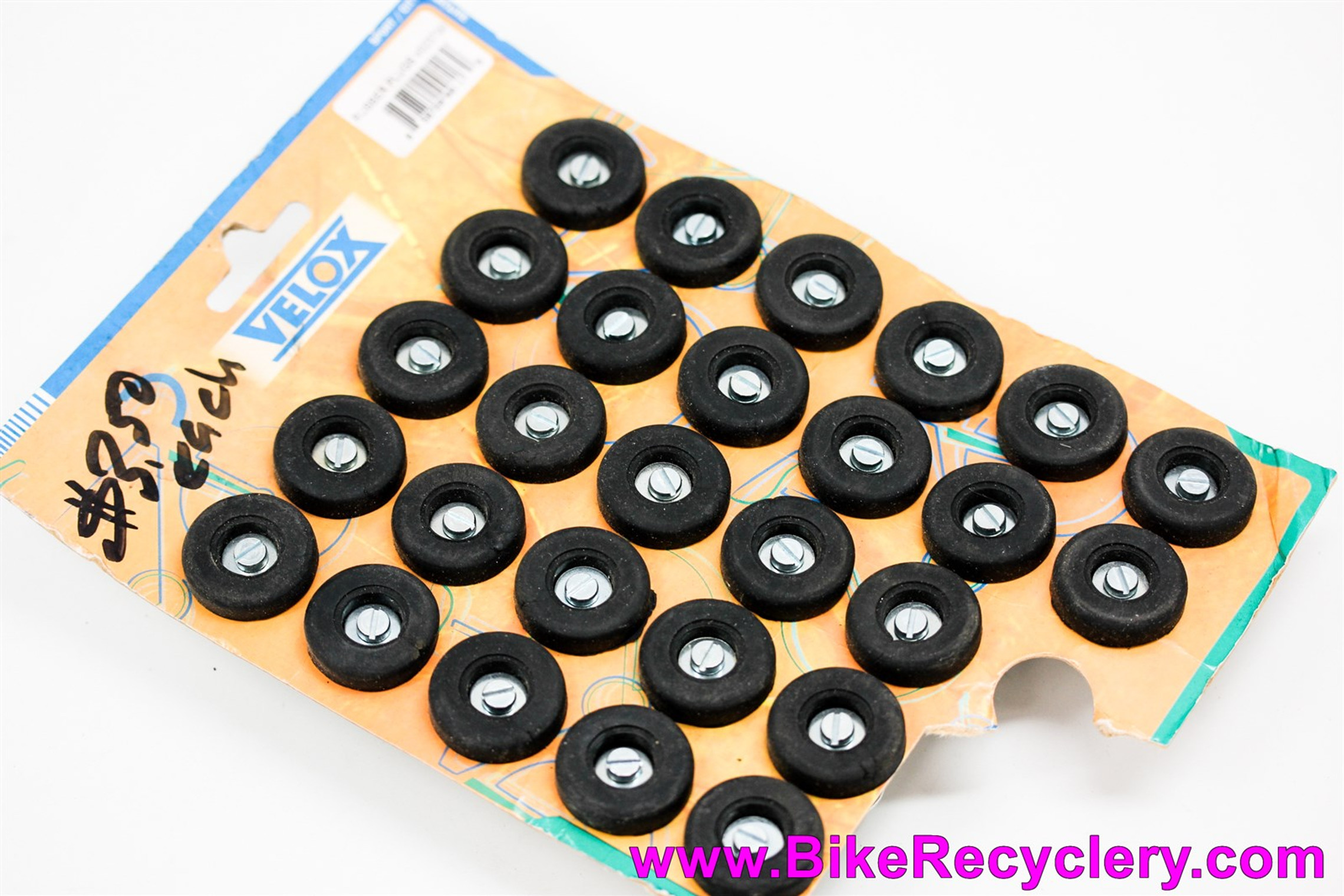 NOS Velox Rubber Handlebar End Plugs: Black - No Logo (Sold In Pairs)