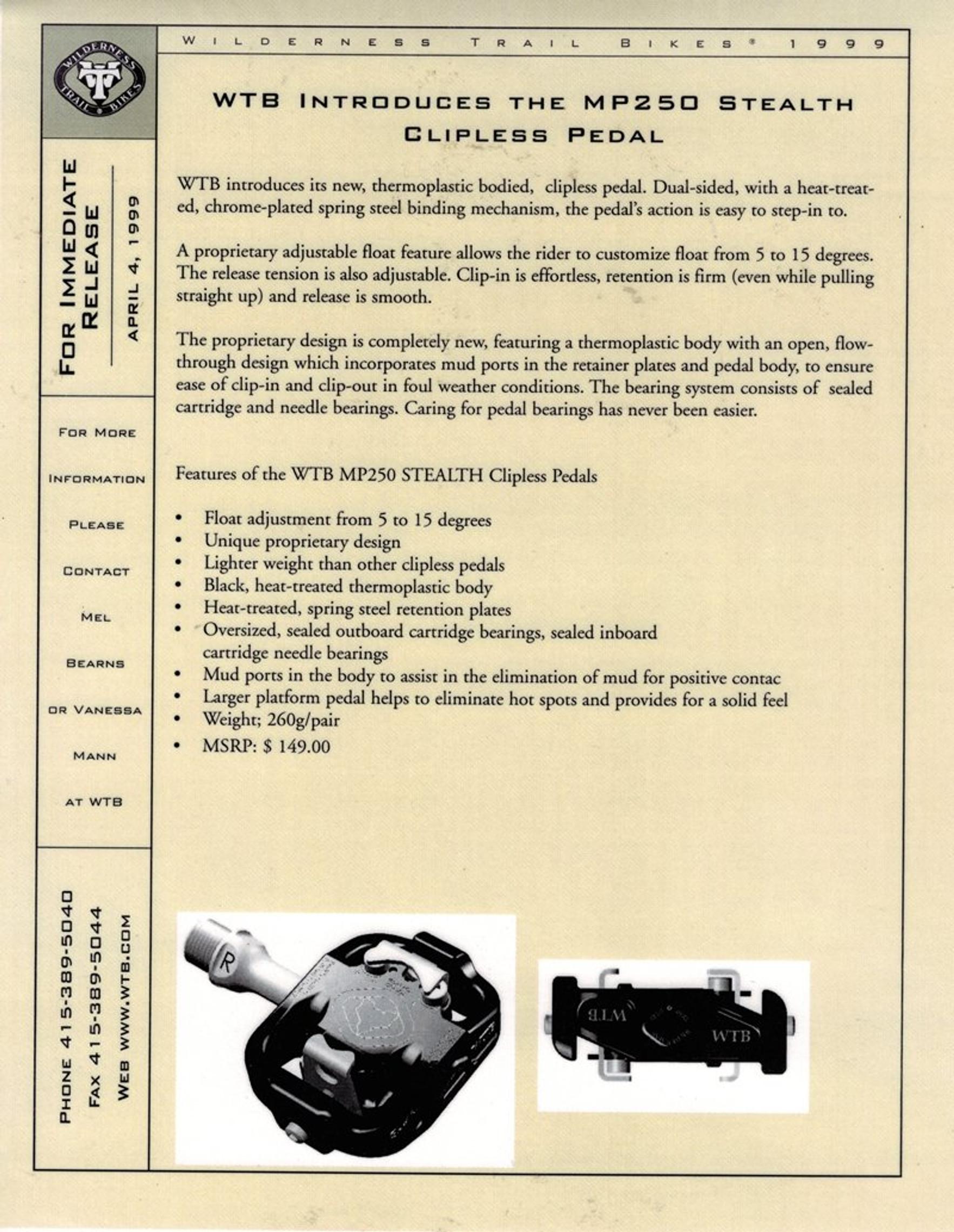 WTB Thermoplastic Catalog scan 1999 ad