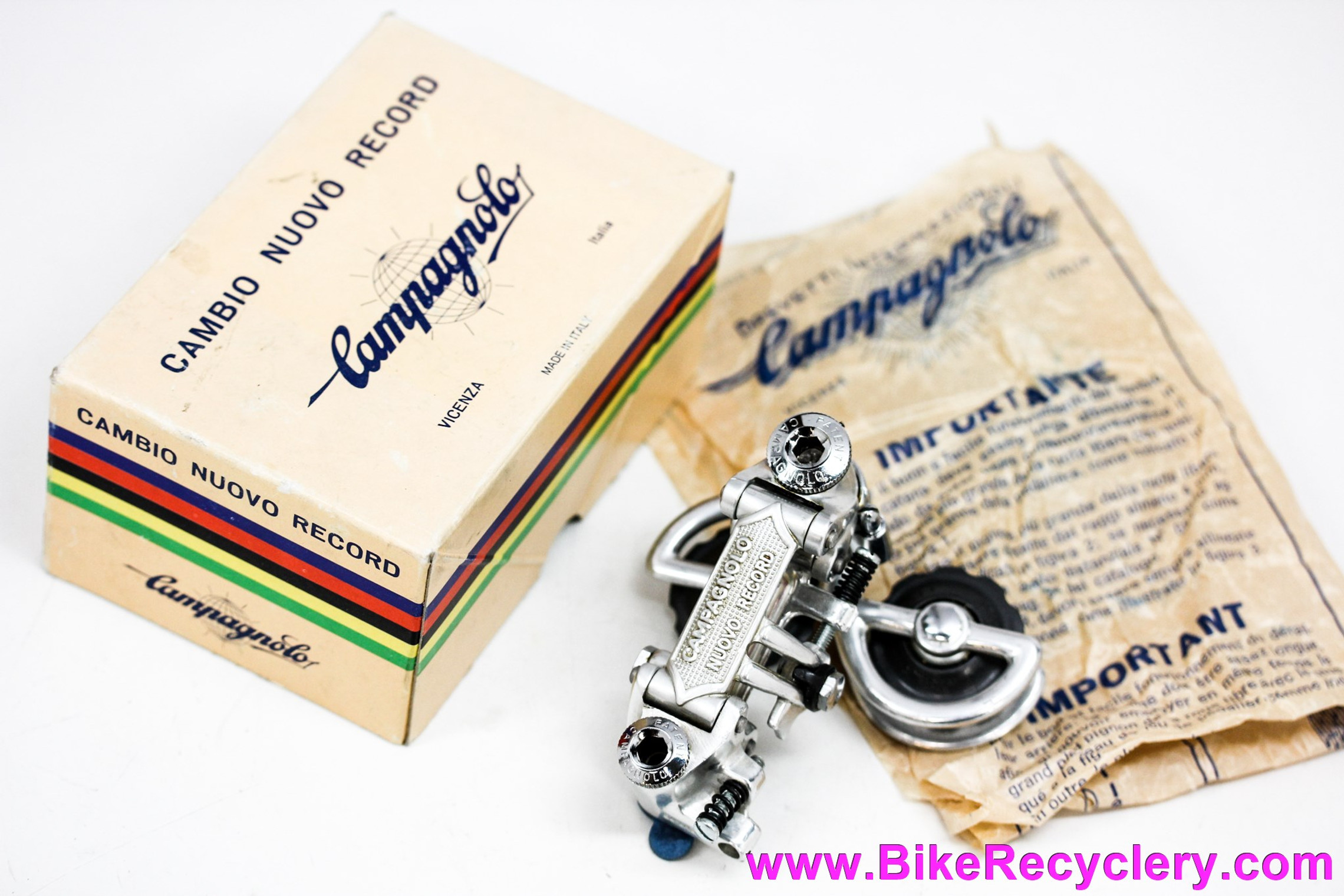 NIB/NOS Campagnolo Nuovo Record Rear Derailleur: Pat 1973 - Original 1970's Box & Wax Paper Instructions
