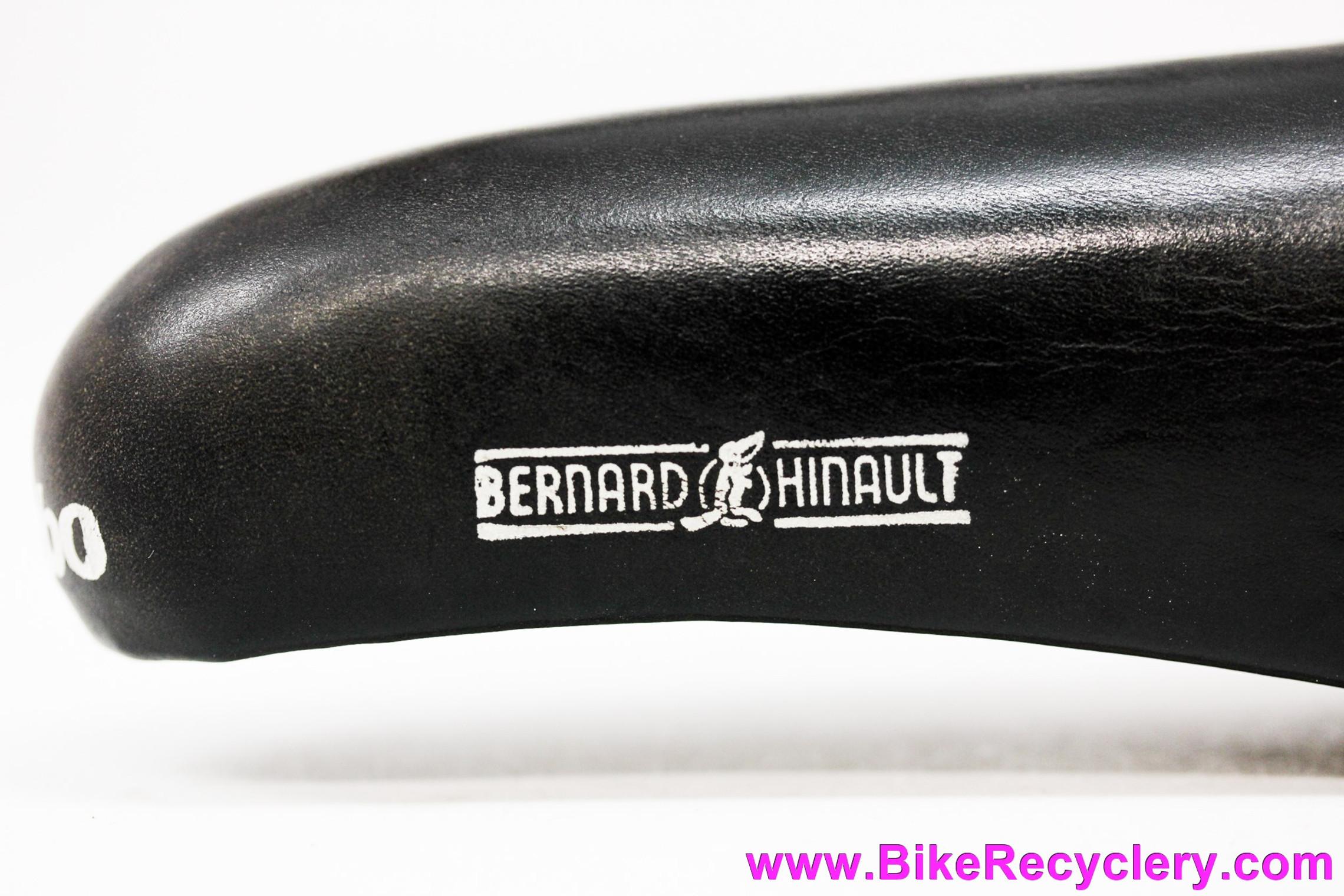 NOS Selle Italia Turbo Hinault V2 Saddle: Smooth Black Leather - White Decals (Take-Off)