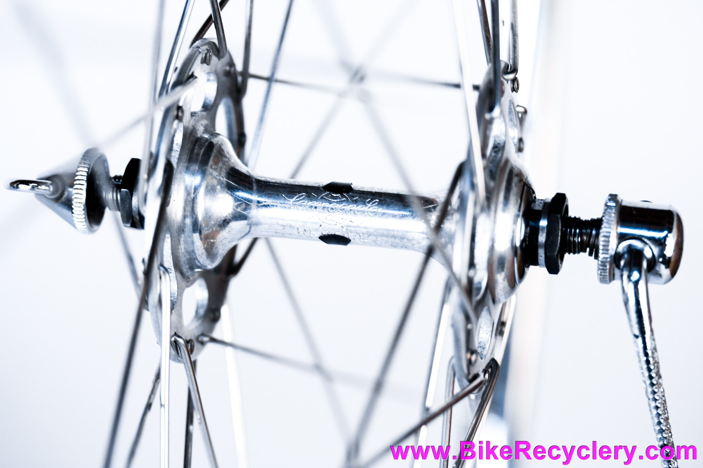 NOS 36H Vintage 700c Wheelset: Campagnolo Nuovo Record High Flange Hubs & H+Son TB14 Polished Box Section Rims: 120mm Spacing - Flat Blade QR Skewers - Clincher