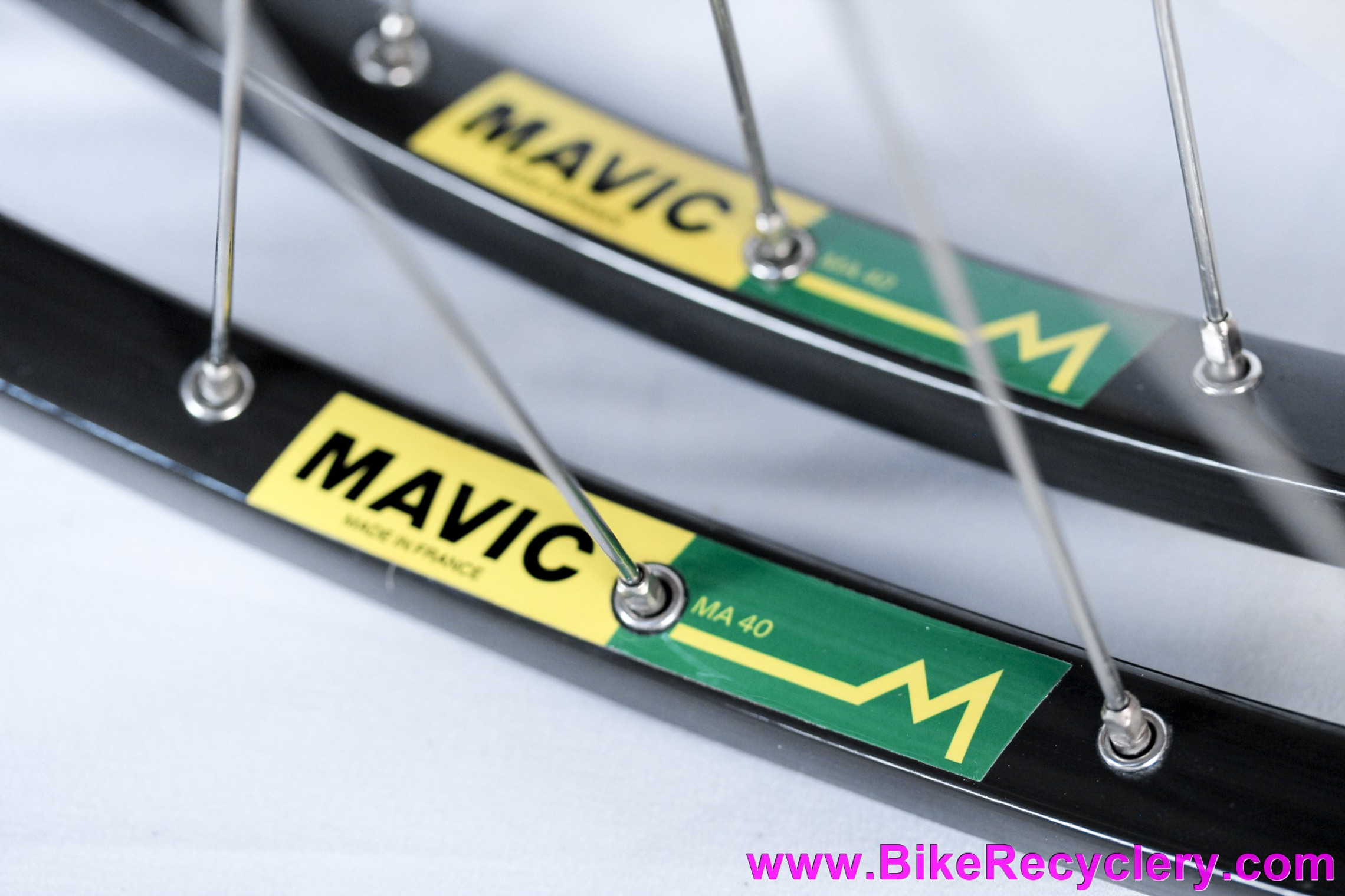 NOS 700c Mavic MA40 & Campagnolo Nuovo Record Low Flange Clincher Wheelset: 36H x 126mm - Green Decal - Curved QR Skewers - Vintage 1980's/1990's (Take-Off)