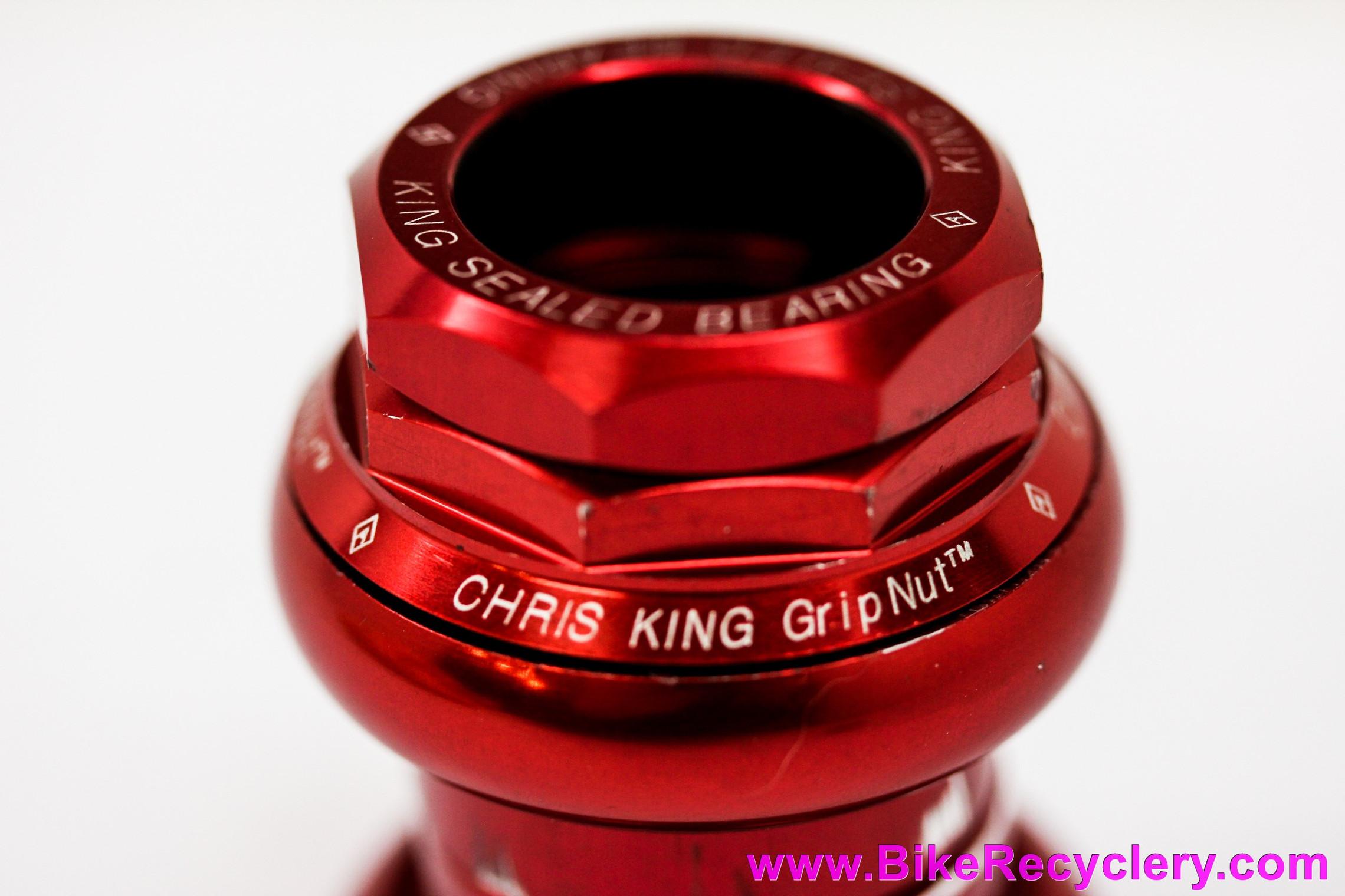 "Chris King GripNut No-Logo 1"" Threaded Headset: Red - Vintage 1990's (Near MINT+)"