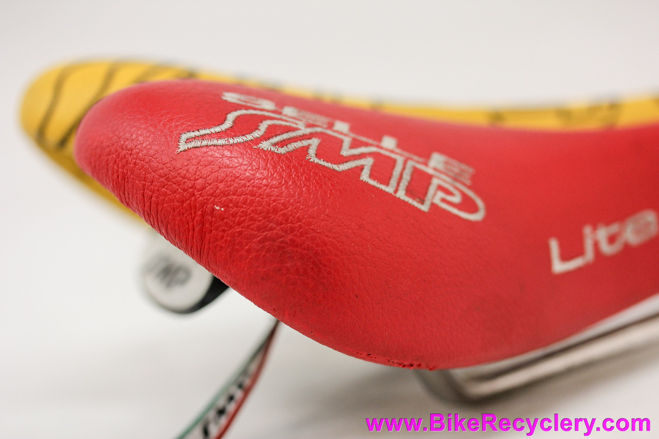 Selle SMP Lite 209 Saddle: Red & White Leather Test Version - Stainless Steel Rails (Near Mint+ Low Miles)