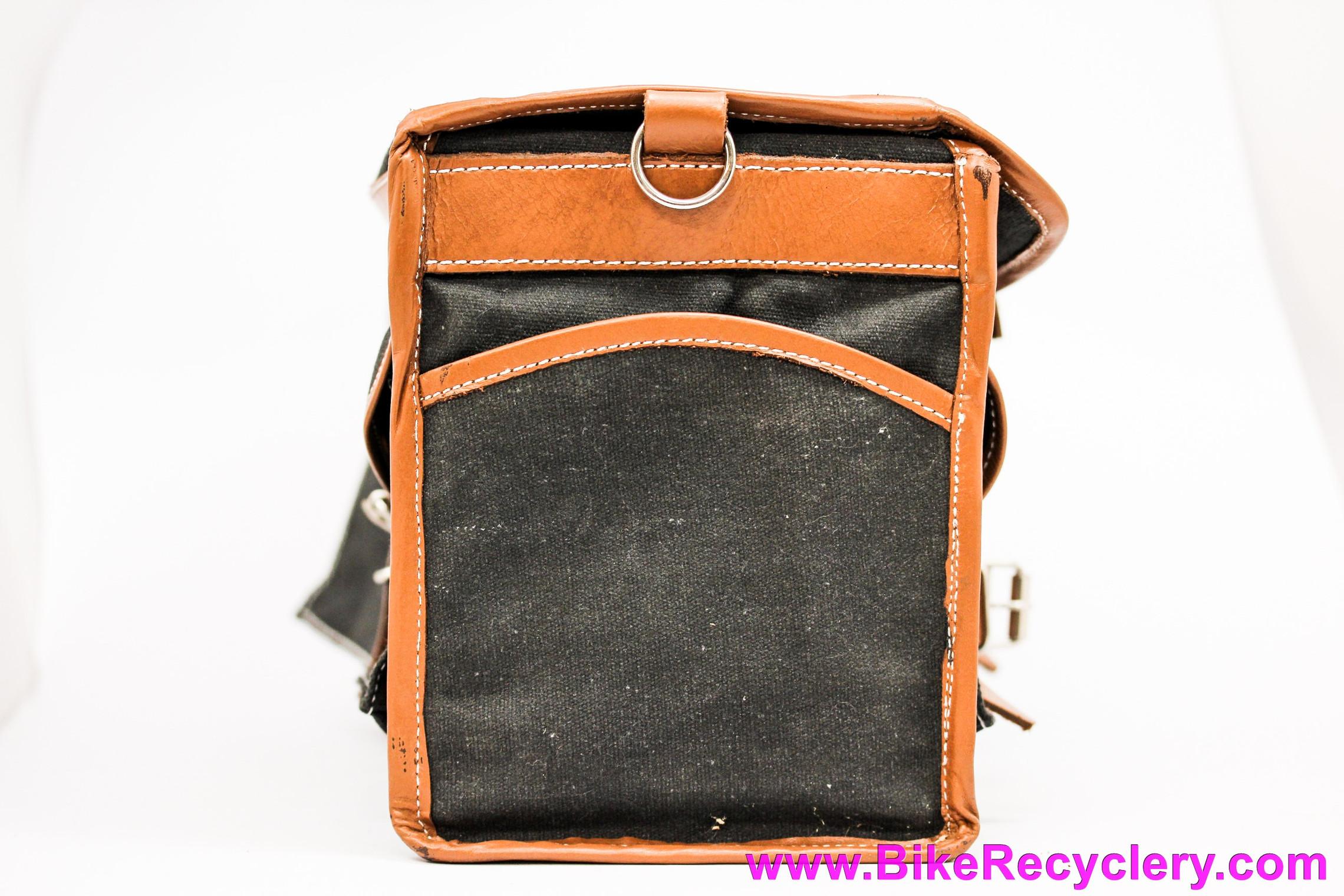 Velo Orange Campagne Randonneur Handlebar Bag: Leather + Dry Waxed Canvas (EXC+)