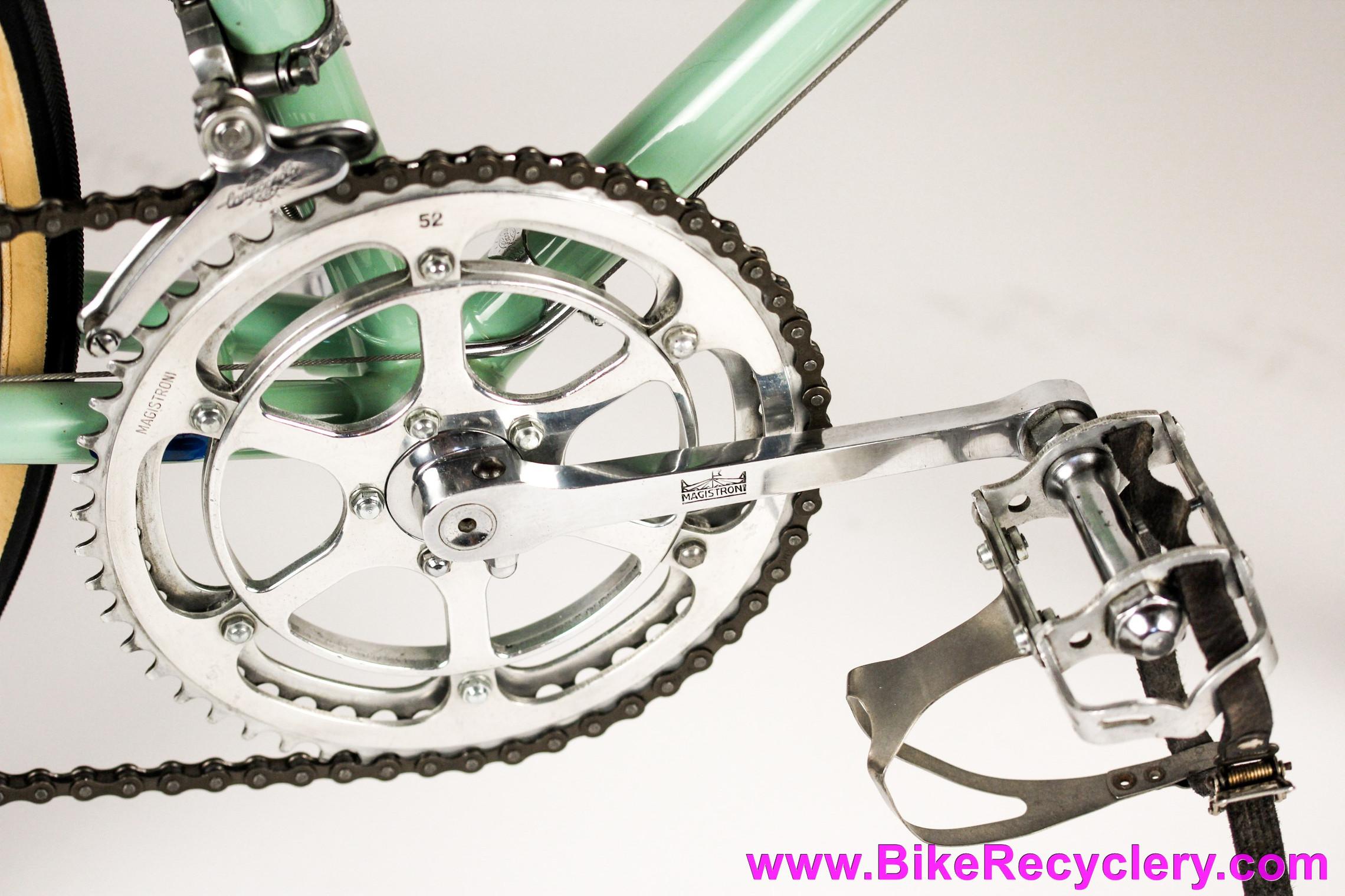 1950's Bianchi Campione Del Mondo Racing Bike: 58cm - Restored! Magistroni 5-Pin - 1st Universal 51 - Campagnolo GS - Ambrosio - Nisi - Brooks - Madonna Del Ghisallo Medallion - Celeste