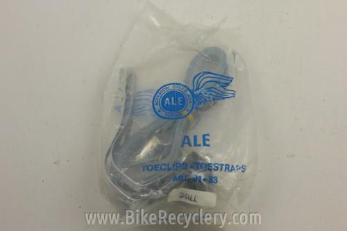 NOS/NIB Ale Toe Clips & Black Leather Toe Straps: SMALL