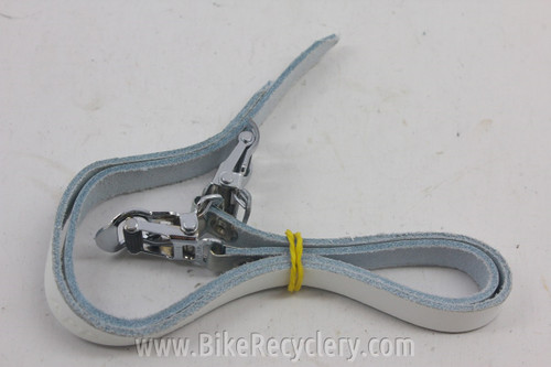 NOS Schwinn Approved Leather Toe Straps: White