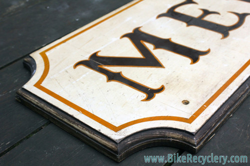 Mercian Wooden Sign: Handpainted - 1960's/1970's Vintage - Patina - British Bicycle Shop Memorabilia - 42x7""