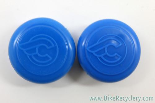 NOS Cinelli Rubber Handlebar End Caps: Flying C Logo - Royal Blue (Pair)