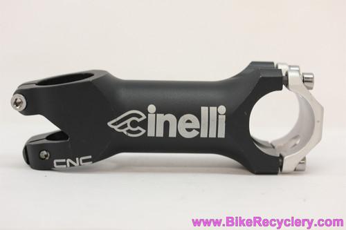 "Cinelli Neo CNC Threadless Stem: 100mm x 31.8mm x 1 1/8"" - Black/Silver (NOS Take-Off)"