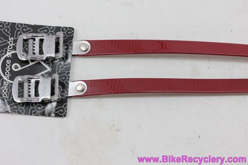 Pake Space Straps Toe Straps: Crimson Red (NEW)