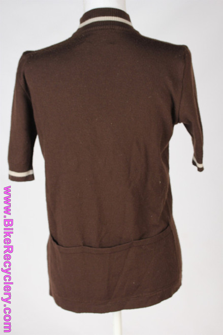 De Marchi Wool Jersey: Medium - Vintage 1970's Original - Brown w/ White Embroidery - L'Eroica (Near Mint)