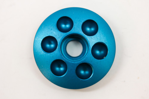 """NOS 1990's Anodized Billet Aluminum 1 1/8"""" Stem Top Cap: Cobalt Blue - Drillium (ish)"""