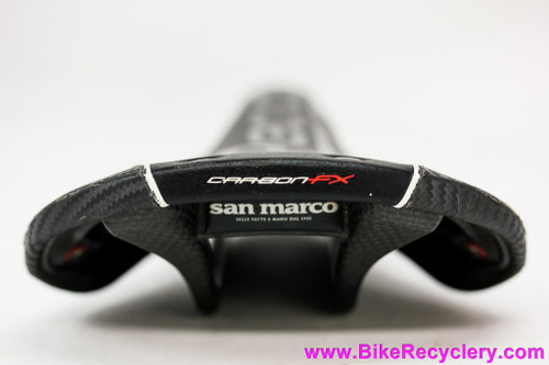 San Marco Regal-E FX Carbon Riveted Saddle: Black/Red/White - 200g
